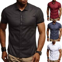 Mens Slim Fit Shirt Short Sleeve Stylish Dress Formal Casual T-shirt Tops