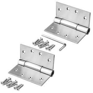 2 Packs 4×4 inches Self Closing Spring Door Hinges Stainless Steel Load 66 lb