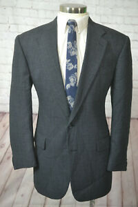 Mens Navy Blue Birds-Eye 2 Button Wool Pleated Front 2 Piece Suit 42R 34Wx30L