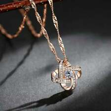 Necklace; Meteor Zirconia Stone Platinum Plated CZ Chips Classic Rose Gold NEW