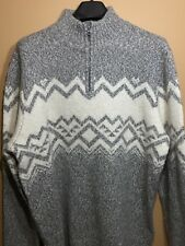 New American Eagle Men's XL Quarter Zip Mock Neck Sweater gray and white