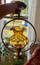 VTG amber  Glass Coin Dot Thumbprint Pattern SHADE globe Hanging Light Fixture