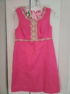 Lilly Pullitzer Pink Sleeveless Dress,  Gold Lame Trim, 60's Vibe, Size 4
