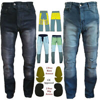 Men Motorcycle Denim Jeans Black/Blue Reinforced Made With DuPont™ Kevlar® Fiber