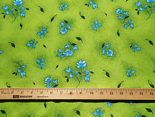 "Fabric Dressmaking Poly Silk Crepe Lime Green Turquoise Floral 60"" WIDE 1.33 YD"