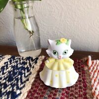 Vintage Lefton China Tiny Kitten In A Dress Trinket Jar W Sticker Bottom
