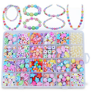Children Girls Necklace Bracelet Make Own Bead Jewellery DIY Making Kit
