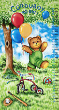 Timeless Treasures Corduroy Bear Character Growth Chart Kids Cotton Fabric Panel