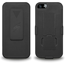 Amzer Black Hard Shell Belt Clip Holster Kickstand Case Cover For iPhone SE 5 5S