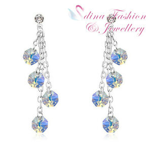 18K White Gold GP Made With Swarovski Crystal Multicolored Waterfall Earrings
