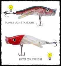 kit 2 popper luminosi pesca spinning spigola bass luccio mare lago artificiale