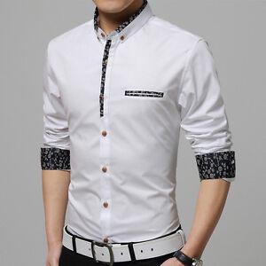 Mens Dress Shirts Casual Long Sleeves Business Work Camisas Social Slim Shirts