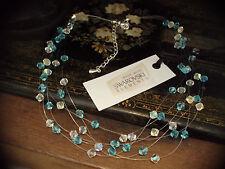 Multi Strand & azul agua AB Cristal Collar Hecho Con Swarovski Elements