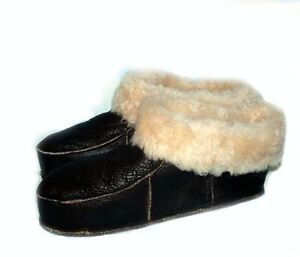 NEW! Men's Brown Soft Sheepskin Lambskin Fur Slippers KATZ Leather Warm Size 10