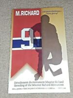 MAURICE RICHARD,PROGRAM UNVEILING OF MONUMENT,HULL QC.27 JUNE 2001