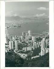 1990 Overhead View of Hongkong Harbor Original News Service Photo