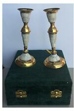 Brass art wares marble candle stand pair in green velvet box Item # 17544
