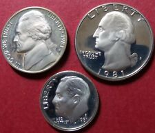 "<1981-s  SMALL COINS ""ALL-PROOFs"" 3-COIN Lot, San Francisco Mint, UNCIRCULATED"