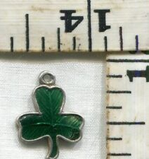 VINTAGE STERLING BRACELET CHARM~#92339~ENAMELED SHAMROCK~MADE IN IRELAND~$14.99