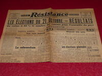 "[PRESSE WW2 39-45] ""RESISTANCE - La Voix de Paris"" # 386 / 22 OCT 1945 Elections"