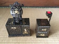 Japanese '80s wooden made Drawer+Mirror & Needle stand (HINA doll acc.)