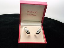 "Sterling Silver Diamond Set ""Diamonds With Love"" Half Hoop Earrings. Cased"