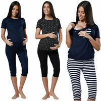 Happy Mama Women's Maternity Nursing Pajama Set Capri Pants Top Nightwear.664p