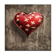 Graffiti Heart Wall Street Art Red Love Ballon Brown Canvas Print Giclee