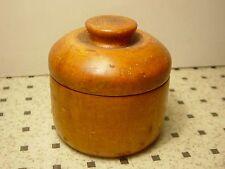 Antique Round Caramel Wood Box Knob Handle Trinket Vanity Dresser Treenware Art