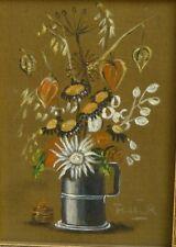 unleserl. sign. Blumen in Zinnkrug, Öl/Malfaser, gerahmt    (252/12055)