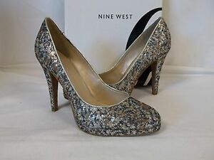 Nine West 7.5 M Rocha Silver Multi Color Heels New Womens Shoes