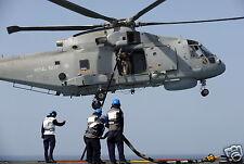 "Royal Navy RFA Argus Refuelling RAF Merlin Helicopter 820 Naval Air Sqd 12x8"""