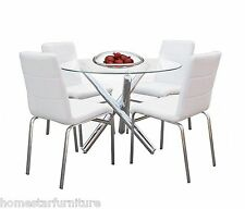 Trion 5pc Round Glass Dining Table Setting 1x Table with 5 Chairs