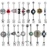 14G Industrial Barbell Surgical Steel Scaffold Ear Bar Earrings Piercing Jewelry