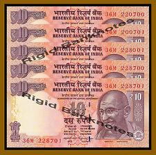 5 Pcs x India 10 Rupees, 2014 P-102 (A) Letter, New Rupee Symbol Unc