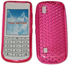 For Nokia Asha 300 / 3000 Pattern Gel Jelly Case Cover Protector Pouch Pink New