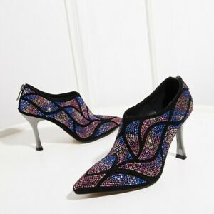 Women Pointed Toe Rhinestones Crystal Ankle Boots Stilettos High Heel Shoes New
