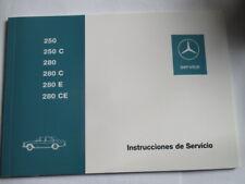 Operating Instructions Benz W114 115 250 280 E Ce Spanish de Servicio