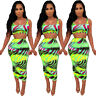 2pcs Women Sleeveless Tie-Dye Print Skirt Set Sexy Bodycon Club Party Dress