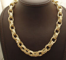 "18"" Bold Shiny Oval Byzantine Link Chain Necklace 14K Yellow Gold Clad Silver"