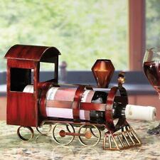 Deco Flair Hand Wrought Steel Construction Wine Bottle Holder Train Locomotive