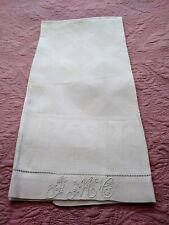 "Gorgeous Heavy Damask Linen Hemstitched Show Towel Initials ""JMcG""  44""x27"" #2"
