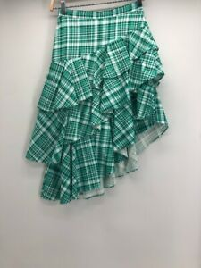 Asymmetric Skirt Womens Blue White Plaid Above Knee Ruffles Tiered 2