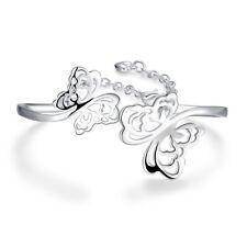 Sterling Silver Plated Bracelet Adjustable Size Butterfly Bangle L230