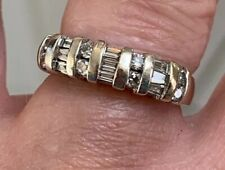 Wedding/Anniversary Natural Diamond Band 5.2gr. 14K Wg .64cttw Round & Baguette