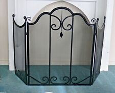 FRENCH PROVINCIAL FIRE SCREEN guard  BLACK 3 PARTS  WROUGHT IRON QUALITY NEW