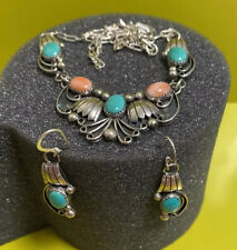 Sterling Silver Turquoise & Coral Necklace And Pierced Dangle Earring Set Navajo