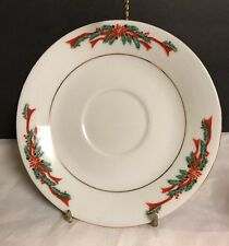 Christmas Dishes Fairfield Fine China Poinsettia Ribbon Saucer Only