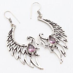 "Amethyst Quartz Silver Plated Earrings Antique Style 2.5"" Gemstone Jewelry W9502"