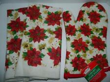 Xmas Poinsettia Dish Towels Oven Mitt Set/3 Flowers Kitchen Dishcloth Decor New